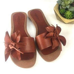 SUNDANCE Leather Flower Sandal Slides 8.8